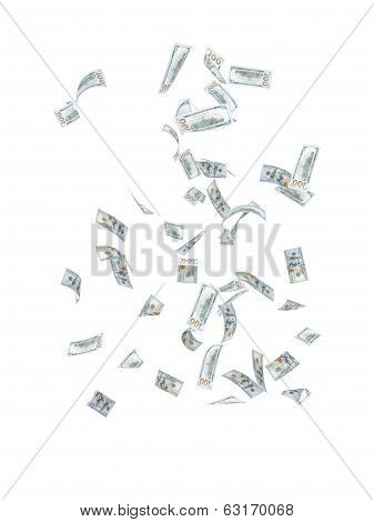 money flying in the air on an isolated white background