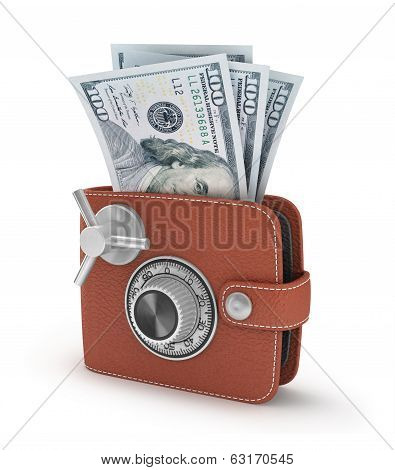 Safe in the wallet on an isolated white background