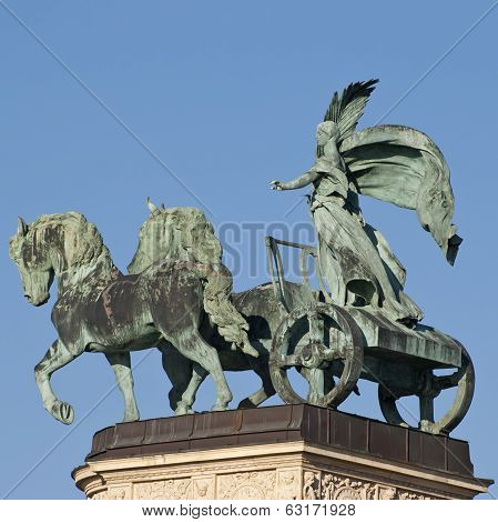 Sculpture Of Woman On Chariot From The Heroes Square In Budapest