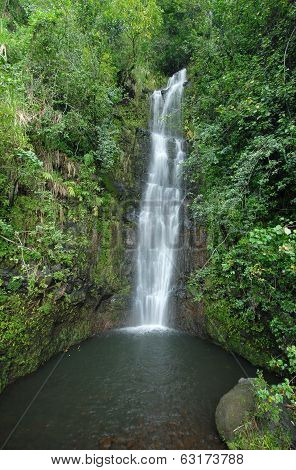 Remote waterfall in Maui Hawaii