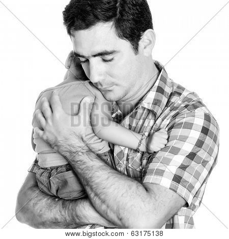 Black and white image of a tired father carrying his small daughter isolated on white
