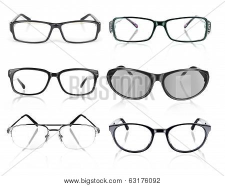 Eye Glasses collection on an isolated white background