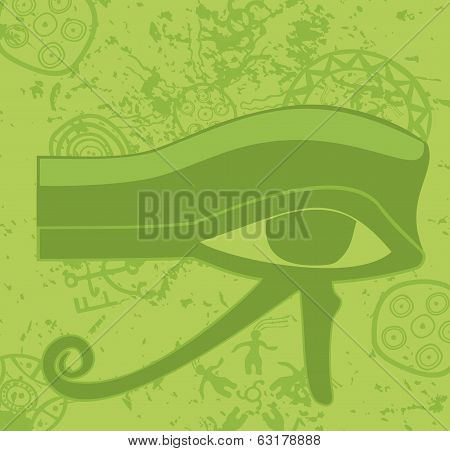 Grunge Egyptian Eye Of Horus , Ancient Deity, Religious Symbol, Vector Illustration