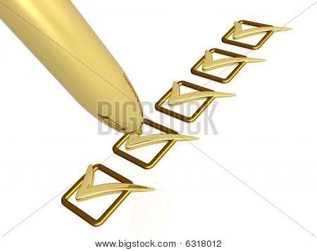 Pen With Five Ticks