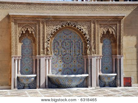 Typical Moroccan Tiled Fountain In The City Of Rabat,