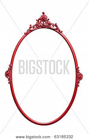 Red Round Retro Mirror Frame, Isolated On White