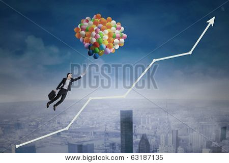 Businesswoman Flying Over Upward Arrow