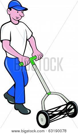 Gardener Mowing Lawn Cartoon