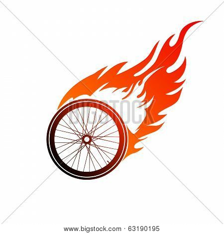 Burning symbol of a bicycle wheel