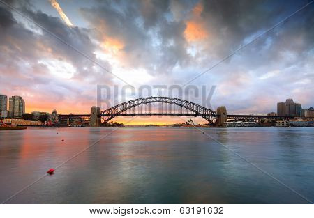Good Morning Sydney With Harbour Bridge And Opera House At Sunrise