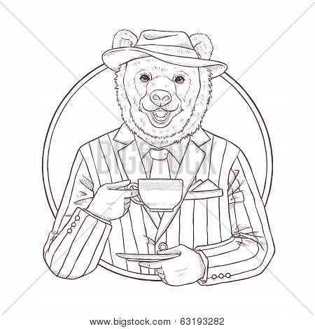 Fashion Illustration Of Bear, Black And White Line