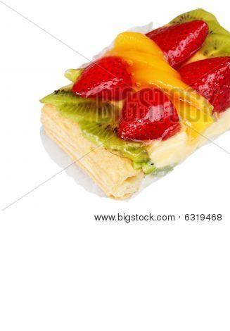 Mixed Fruit Tart On White