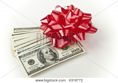 red bow with cash