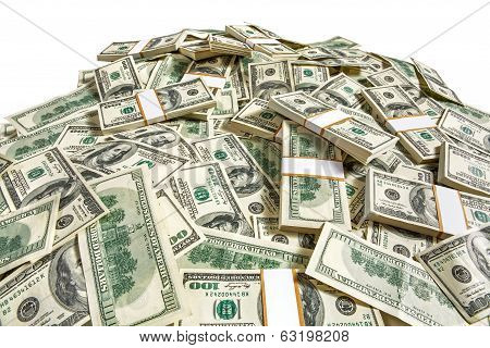Dollar banknotes heap