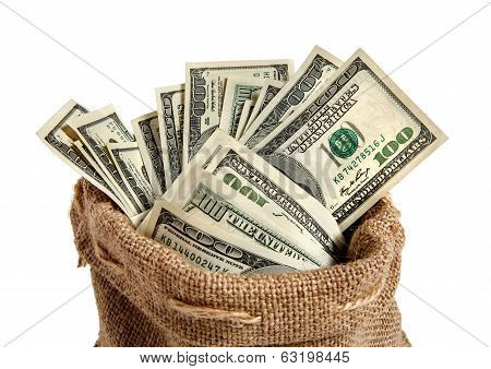 Textile sack with money