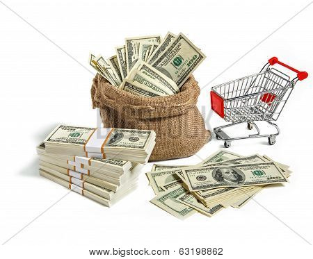 Bagful and trolley