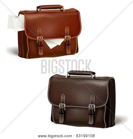 Black and brown leather briefcases
