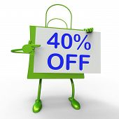 Forty Percent Reduced On Shopping Bags Shows 40 Bargains