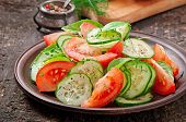 picture of lenten  - Tomato and cucumber salad with black pepper and basil - JPG