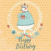Cute funny bear in sweater with holiday cake in vector. Cartoon Happy Birthday card design, can be u
