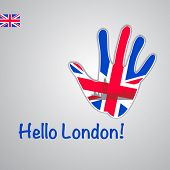 Template - hello London. Background-hand with the flag of UK and London's major attractions - Big Be