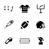Vector black football icons set poster
