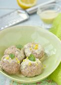 image of boll  - meat bolls with lemon cream sauce in to the green dish - JPG