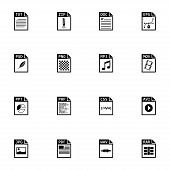 picture of png  - Vector black file type icons set on white background - JPG