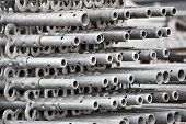 stock photo of scaffolding  - aluminum scaffolding at construction site - JPG