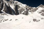 stock photo of jade blue  - Top Of Jade Dragon Snow Mountain Near Lijiang In Yunnan Province - JPG