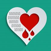 stock photo of heartbreak  - Heartbleed bug feelings blood donation and heart health - JPG