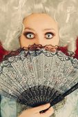 Surprised  Baroque Woman Portrait with Wig and Fan