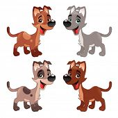 Set of funny dogs. Vector isolated animals