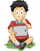 Illustration of a Little Boy Thinking About Something While Looking at a Tablet