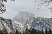 picture of granite dome  - Yosemite National Park granite cliffs rivers waterfalls domes and the beautiful landscape formed by glacier - JPG