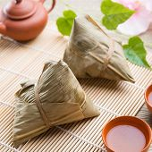 Asian Chinese rice dumplings with tea