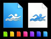 Swimming Icons on Colorful Paper Document Collection