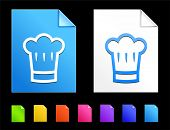 Chef hat Icons on Colorful Paper Document Collection