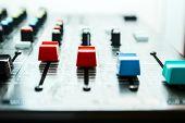 stock photo of mixer  - Sound studio adjusting record equipment music mixer - JPG