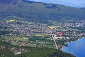 picture of annecy  - paraglider flying over Lake Annecy in France - JPG