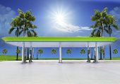 Beautiful Oil Fuel Gasoline Service Station Under Conception Green And Eco Nature With Clear Blue Oc