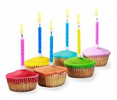 Birthday Cupcakes In Different Colors Isolated