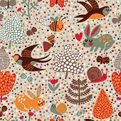 Cute seamless pattern with birds swallows, rabbits, bees, snail and flowers. Stylish floral backgrou
