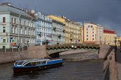 River Boat On The River Moika In St Petersburg, Russia