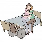 An image of a man lifting a disabled woman.