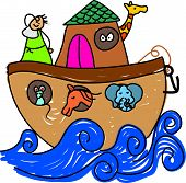 stock photo of noah  - Noahs ark drawn in child like style  - JPG