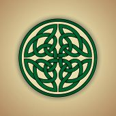 Celtic Knot Symbol of Eternity. Vector illustration of green celtic knot with slight grunge texture