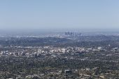 Pasadena and Los Angeles cityscape aerial.