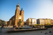 KRAKOW, POLAND - FEB 26, 2014: View of the Main Square. It dates to the 13th century, and at roughly