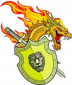 stock photo of dragon  - flaming dragon with shield and sword in vector - JPG